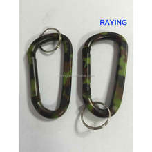 Hot sale aluminium big Carabiner Keychain with Ring camouflage color carabiner