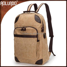 Vintage leather and canvas backpack travel