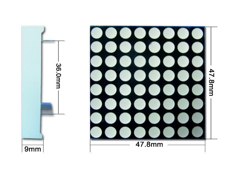 4.8 mm dual color green red blue yellow 8x8 led array display dot matrix module bi-color