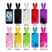 Fashion Design Silicone Rubber Lovely Bunny Rabbit Back 3D Phone Skin Case Cover for iPhone 4 4s 5 5s