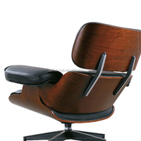 Inspired Lounge Chair + Ottoman Walnut Veneer Black Italian Leather #HY2112