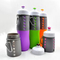 Custom logo welcome silicone water bottle with 700ml volume