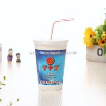 cheap price custom print hot paper cola cups with straw