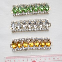 sewing 13*18mm oval crystal rhinestone multi-color beads connector for bikini and shoe button