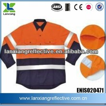 LX807AUS two tone cotton safety clothing wholesale