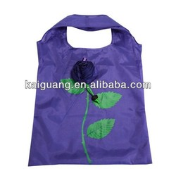 2014 flower polyester shopping bag foldable/foldable polyester tote bag
