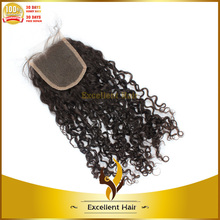 2014 new product middle parting human curly brazilian lace closure hot sale silk base top closures