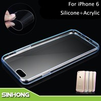 Soft Silicone+Acrylic Anti-Scratch Crystal Tranparent Case For iPhone 6