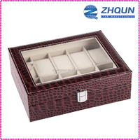 Brown competitive price 10 slot leather Watch Box with glass top