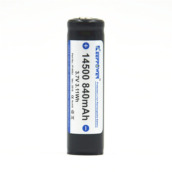KeepPower 3.7v icr 14500 li-ion rechargeable battery 840mAh protected 14500 battery P1450J