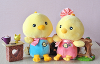 Cute stuffed yellow plush chicken toy with suction cup