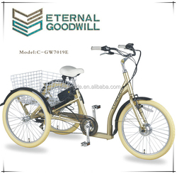 CE 2015 3 wheels 7speeds electric tricycle for adult with 36V 9A lithium battery cargo bike 250W electric bike GB7019E