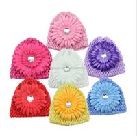 Autumn Winter baby hat caps newborn hat baby girls crochet knit hats with big flower