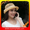 Wholeslae Fashion Girl's High Quality Summer 100% Paper Up Brim Round Top Hat