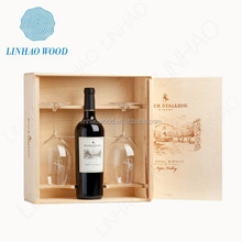 Wooden wine bottle box with lock/Wooden wine gift box/Gift boxes for wine glasses