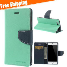 Double colors design newest Luxury Flip Cover Stand Wallet Leather Case For iPhone 6 4.7