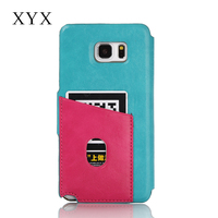 China wholesale mobile phone back card slot for samsung galaxy note 5 phone, flip cover case for samsung galaxy
