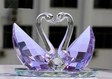 Beautiful crystal swan, purple crystal swan, wedding gift for couple