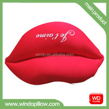 Lovely custom plush soft stuffed red heart mouth cushion pink and red lip pillow