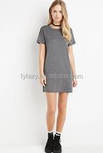 latest casual blank 100% cotton t-shirt dress