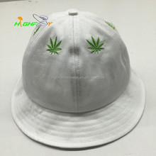 Leaf embroidery logo 6 panel bell bucket hat with top button