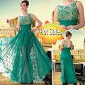 DORISQUEEN diseño original de la venta caliente de la longitud del gasa verde vestido de noche 2014