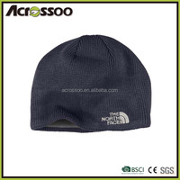 Micro fleece lining custom logo black beanie, two layers winter knitting hat