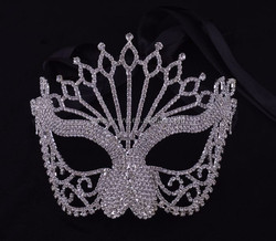 fashion metal silver plated adult sex mask with crystals for masquerade