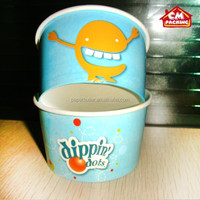 logo print disposable 22oz Paper Ice cream cup / frozen yogurt bowl with Double PE
