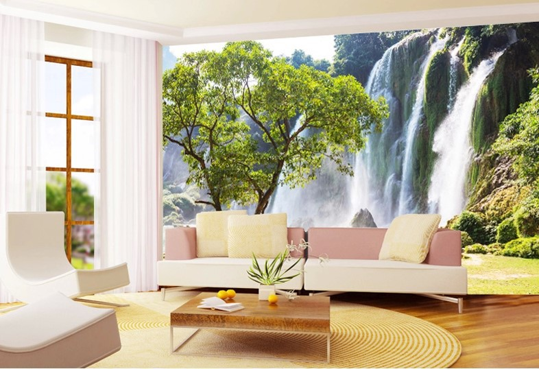 3d wallpaper mural waterfall green view roll wall paper for Custom size wall mural