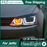 AKD Car Styling for VW Jetta LED Headlights 2011-2015 New Jetta LED Head Lamp Projector Bi Xenon Hid H7