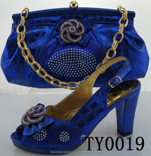 TY0019 High quality ladies matching shoes and bags set/Royal blue sexy high heel shoes 12 cm high heel shoes and matching bags