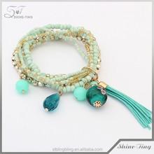 Occident fashion new tassel multilayer elastic charm bracelet