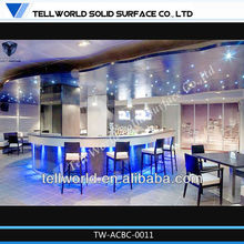 Sound blue lighting acrylic solid surface bar furniture bar counters design
