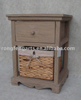 countryside wooden cabinet with wicker basket