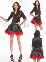 Halloween Sexy Devil Mrs.Iblis Costume with fork Vampire costume Party costume