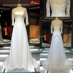 Lace floor-length short sleeve fashion wedding dress/ 2015 latest satin dream lover princess elegant wedding dress in china