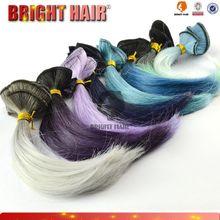 wholesale colorful kanekalon synthetic hair blending human hair weaves,grey mix hair extensions