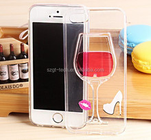 Fashion Creative 3D flow Liquid Red Wine Glass Transparent Hard Case Cover for iPhone 6