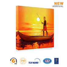 Fish Boat Hanging Bedroom Oil Scenery Painting Pictures Abstract Wall Art for Office