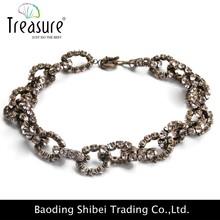 Cristalina checa del acero inoxidable collar de cadena collar de topacio azul