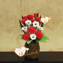 Casa de muñecas de jardín de hadas flor 1/12 en miniatura casa de muñecas de arcilla flor en el florero