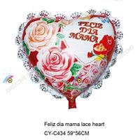 2015 happy mother's day foil balloon for Espana Feliz dia mama lace heart