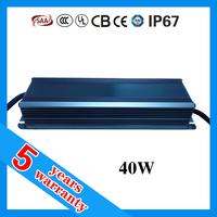 5 year warranty PF 0.98 waterproof IP67 LED power supply 40W
