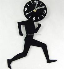 pop black running man shape acrylic wall clock for gift