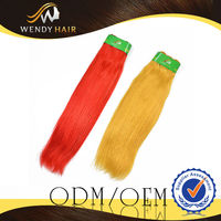 New Style Hair Extensions 30 Inches Ombre Straight Hair Two Colors Red Yellow High Quality Brazilian Virgin Hair Wefts