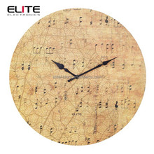 """12"""" MDF wall clock with musical note design"""