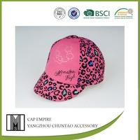 BSCI Audit pink leopard printed rhinestone baby cotton baseball cap helmet