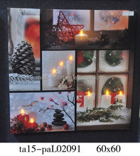 High quality Light up candle led canvas painting