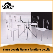 factory direct price stainless steel pipe and round shape glass top dining table set
